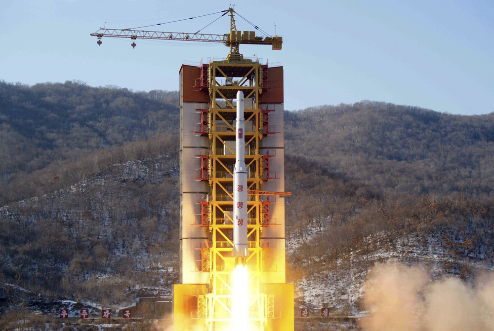 This Feb. 7, 2016 image released by the Korean Central News Agency (KCNA) and distributed by the Korea News Service (KNS) shows a rocket lifting off, said to be carrying North Korea's Earth observation satellite Kwangmyongsong-4, at the Sohae launch pad in Tongchang-ri, North Korea. (AP)