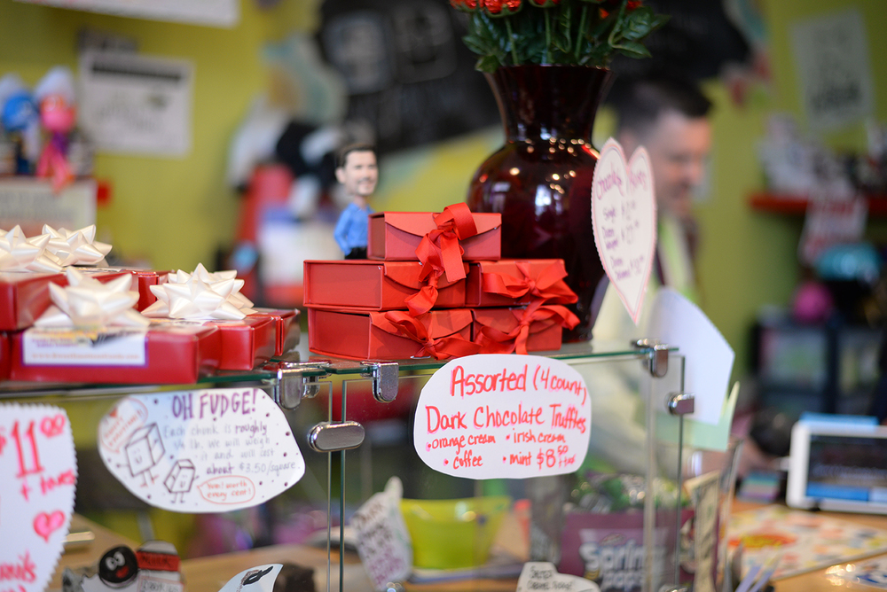 Valentine's Day candy boxes are seen in Sweet Emotions candy store in Storrs, Connecticut on Thursday, Feb. 11, 2016. The store will be offering free delivery on orders over $10 on the holiday this weekend. (Amar Batra/The Daily Campus)