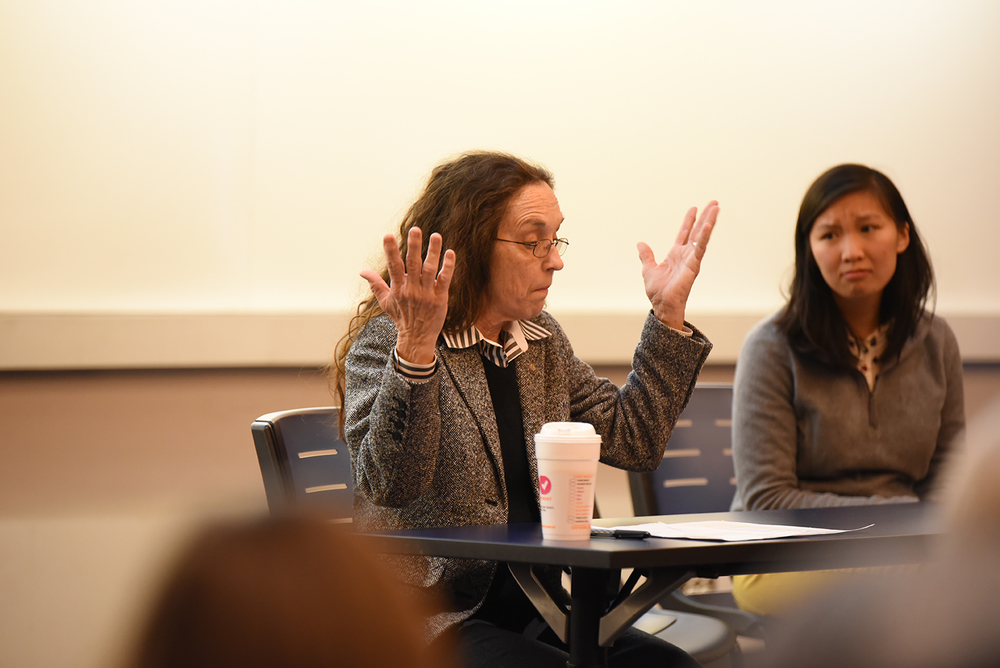 "The human tendency toward selective attention to detail, especially where women are concerned, was a running theme Thursday evening at ""Faith and Feminism,"" a panel discussion about the intersection of religion and gender. (Allen Lang/The Daily Campus)"
