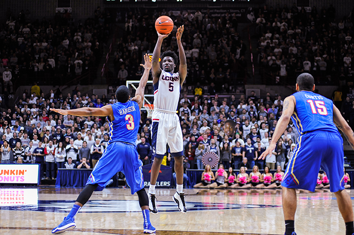 Daniel Hamilton rises for a jump shot during UConn's 75-73 win over Tulsa at Gampel Pavilion on Saturday Feb. 13, 2016. (Jason Jiang/The Daily Campus)