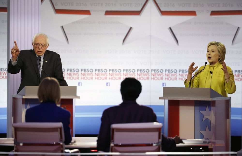 In this Feb. 11, 2016 file photo, Democratic presidential candidates, Sen. Bernie Sanders, I-Vt, and Hillary Clinton argue a point during a Democratic presidential primary debate at the University of Wisconsin-Milwaukee in Milwaukee. (AP Photo/Morry Gash, File)