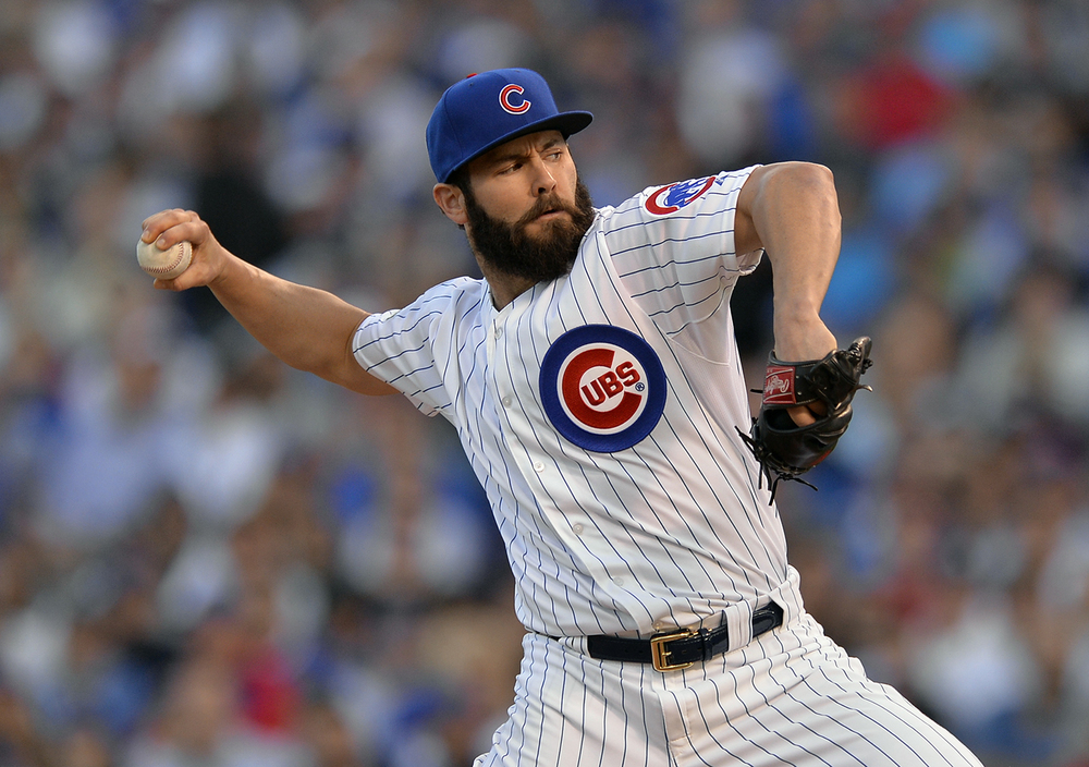 FILE - In this Oct. 12, 2015, file photo, Chicago Cubs starting pitcher Jake Arrieta throws during the first inning of Game 3 in baseball's National League division series against the St. Louis Cardinals in Chicago. (AP Photo/Paul Beaty, File)