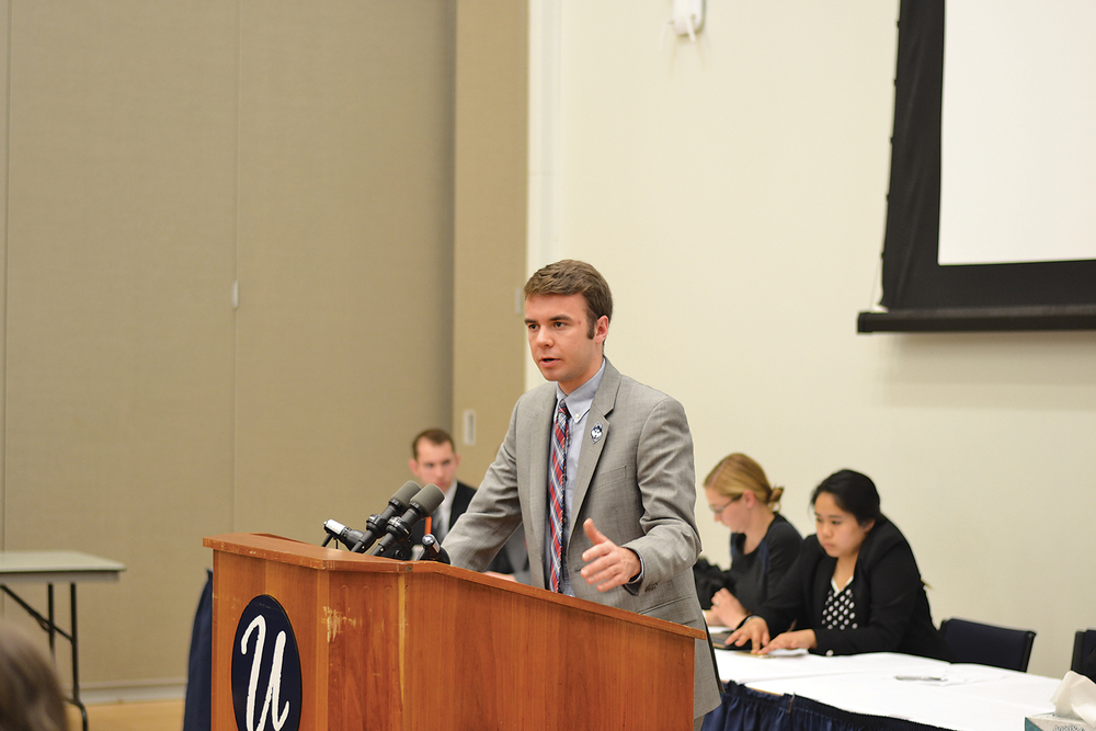 In this file photo, Undergraduate Student Government Vice President Adam Kuegler speaks during a senate meeting at the UConn Student Union on April 29, 2015. Kuegler will run for the student seat on the UConn Board of Trustees, which will be vacant starting next semester. (Amar Batra/The Daily Campus)