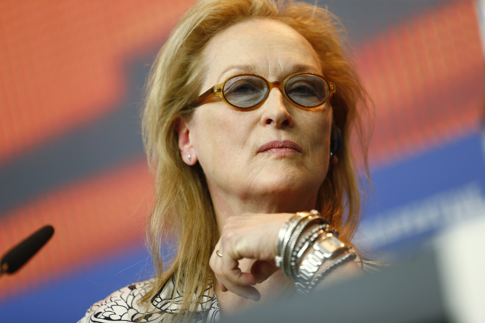 Jury President Meryl Streep attends a press conference at the 2016 Berlinale Film Festival in Berlin, Germany, Thursday, Feb. 11, 2016. (AP Photo/Axel Schmidt)
