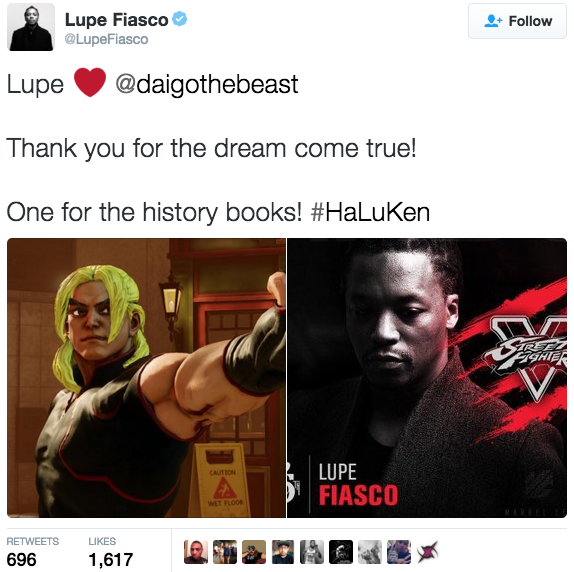 "Lupe Fiasco tweeted about his win against ""Street Fighter"" legend Daigo Umehara. (Screenshot/Twitter)"