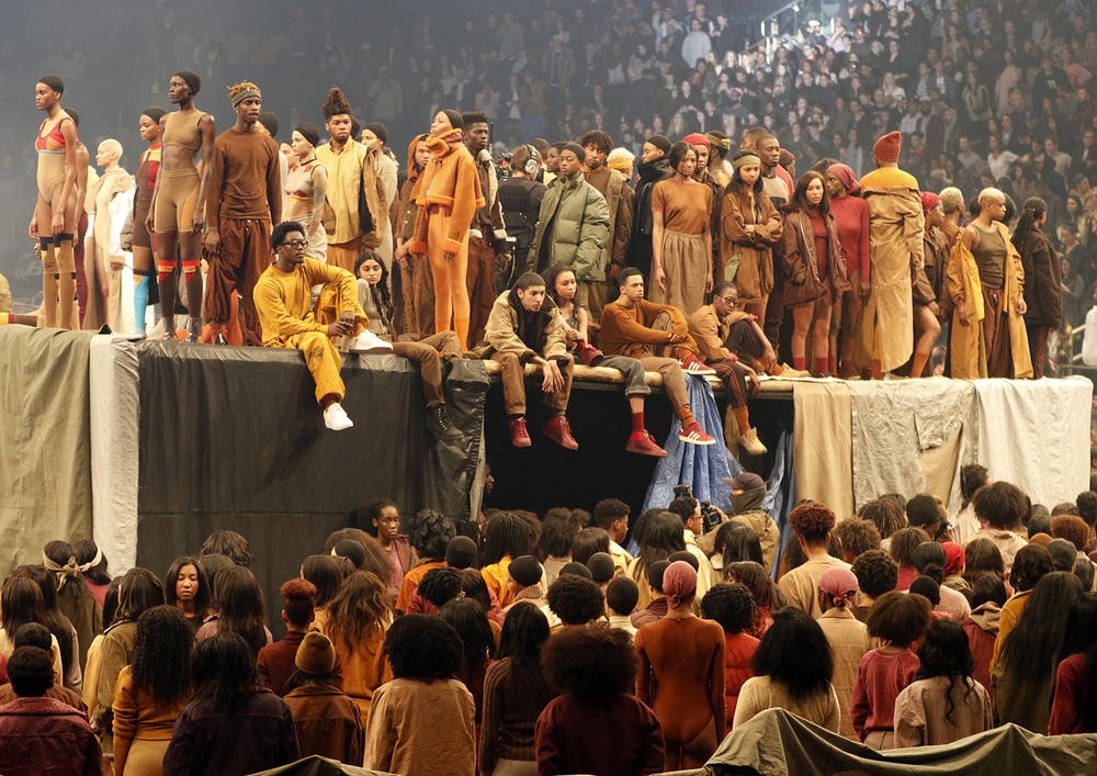 "Models wear fashion from the Yeezy collection at a presentation and album release for Kanye West's latest album, ""The Life of Pablo,"" Thursday, Feb. 11, 2016 at Madison Square Garden in New York. (AP Photo/Bruce Barton)"