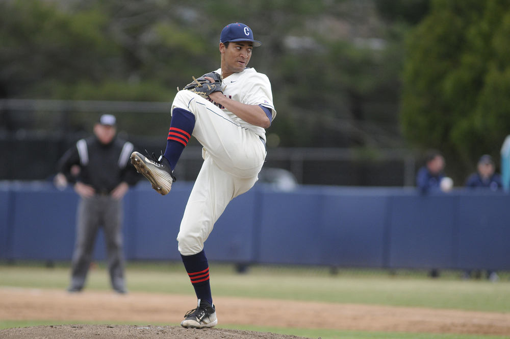 UConn baseball pitcher Devin Over winds up during the Huskies' game against Memphis at J.O. Christian Field in Storrs, Connecticut on April 25, 2015. (File Photo/The Daily Campus)