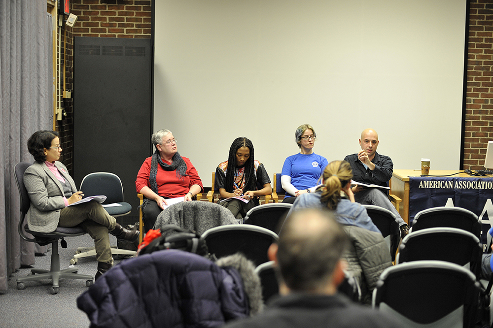 Attendees are seen at the AAUP UConn for Quality Education panel event held in the Homer Babbidge Library on the Storrs campus on Thursday, Feb. 18, 2016. (Jason Jiang/The Daily Campus)
