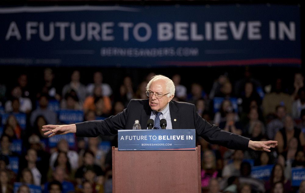 Democratic presidential candidate Sen. Bernie Sanders, I-Vt., speaks during a rally Sunday, Feb. 21, 2016, in Greenville, S.C. (AP Photo/John Bazemore)
