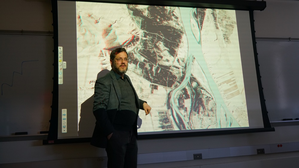 "Dartmouth University professor Jesse Casana speaks during his lecture ""Lost Landscapes: Research Applications of Declassified CORONA Satellite Imagery"" at the Philip E. Austin Building in Storrs, Connecticut on Friday, Feb. 19, 2016. (Erming Gao/The Daily Campus)"