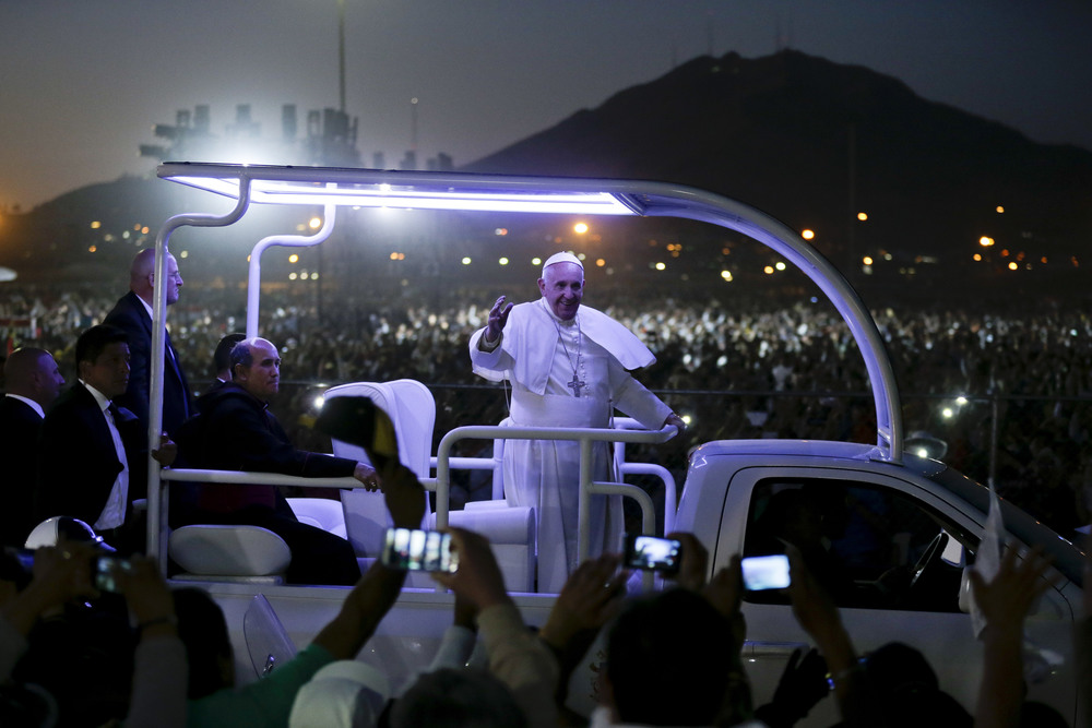 In this Wednesday, Feb. 17, 2016 file photo, Pope Francis waves from his popemobile as he leaves the fairgrounds in Ciudad Juarez, Mexico, where he celebrated an outdoor Mass. When politicians were confronted in recent years about how their policies fit their faith, the issue at hand was usually abortion and the targets were mostly Democrats. Flying back to Rome, the pontiff managed to put the Republicans on the defensive by rebuking Donald Trump on a different issue: immigration. (AP Photo/Gregory Bull)