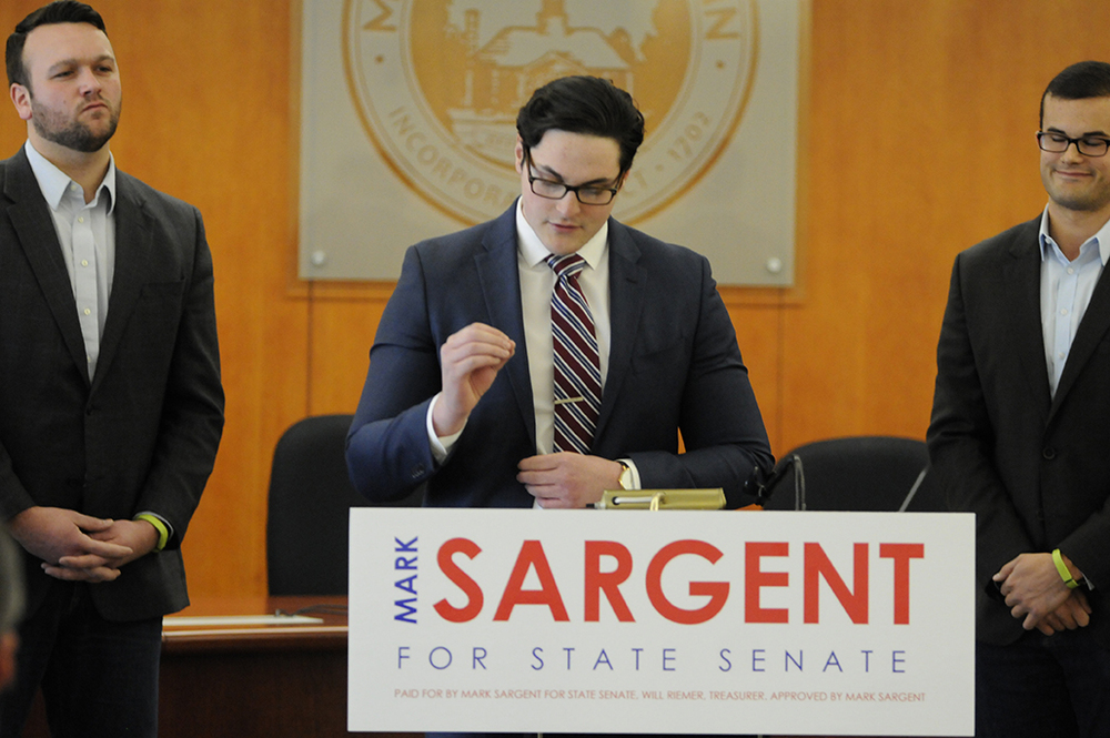 Mansfield Town Council member Mark Sargent announced that he will be seeking a seat in the State Senate. State rep. Jesse MacLachlan, R-Westbrook (L) and state Sen. Art Linares, R-Westbrook (R) stood in support of Sargent. (Amar Batra/The Daily Campus)