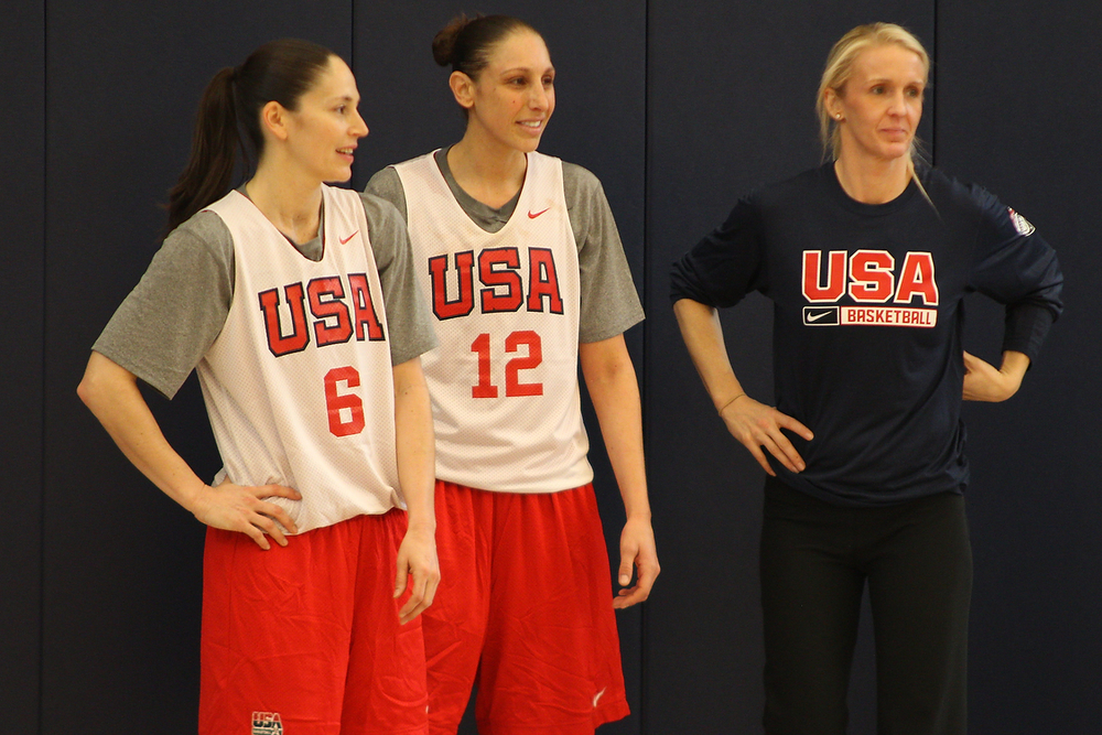 Former UConn women's basketball players Sue Bird (left) and Diana Taurasi look on during a United States women's national basketball team training session at the Werth Family UConn Basketball Champions Center in Storrs, Connecticut on Monday, Feb. 22, 2016. (Ian Bethune/The UConn Blog)