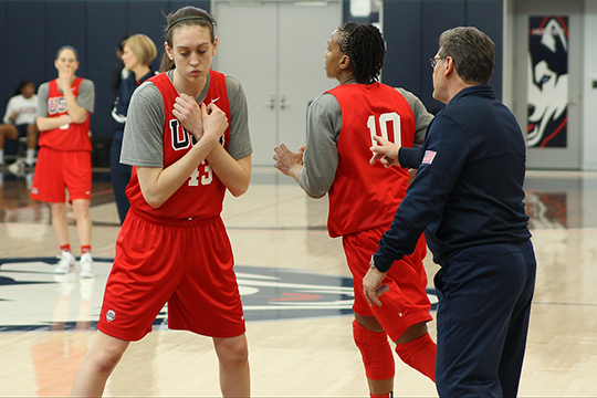 Breanna Stewart, 43, sets a screen during Team USA practice at the Werth Family Basketball Champions Center in front of head coach Geno Auriemma. (Ian Bethune/The UConn Blog)