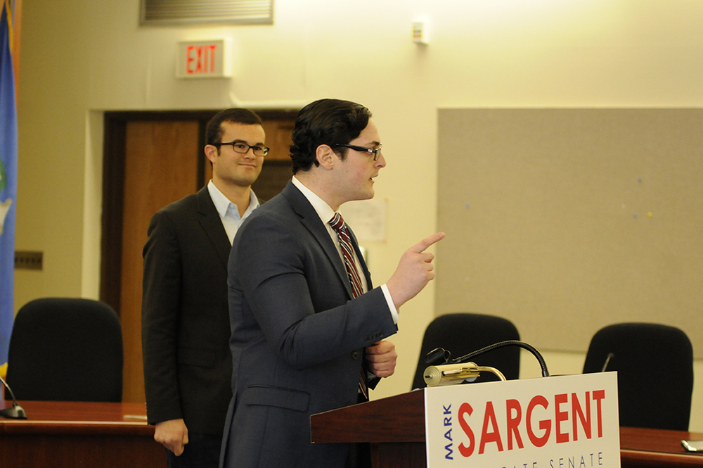 Mark Sargent (right) announced his candidacy for state Senate on February 13, 2016. Just 11 days later, he has dropped his campaign and will instead challenge for a seat in the state House. (Amar Batra/The Daily Campus)