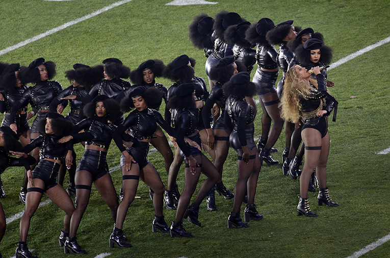 Beyonce performs during halftime of the NFL Super Bowl 50 football game Sunday, Feb. 7, 2016, in Santa Clara, Calif. (AP Photo/Charlie Riedel)