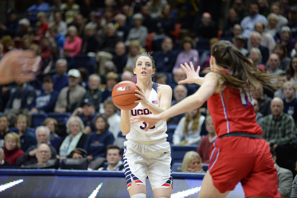 Katie Lou Samuelson rises for a jump shot during UConn's 88-41 victory over SMU at Gampel Pavilion on Feb. 24, 2016. Samuelson tied her career high with 21 points. (Ashley Maher/The Daily Campus)