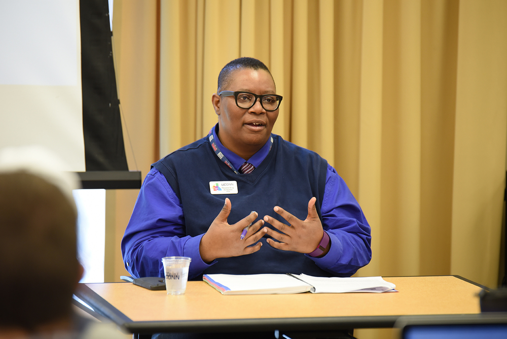 "Fleurette King, director of UConn's Rainbow Center, speaks during a panel discussion ""Issues in Sports: Diversity in Sports Leadership"" in the Charles B. Gentry Building in Storrs, Connecticut on Thursday, Feb. 25, 2016. (Allen Lang/The Daily Campus)"