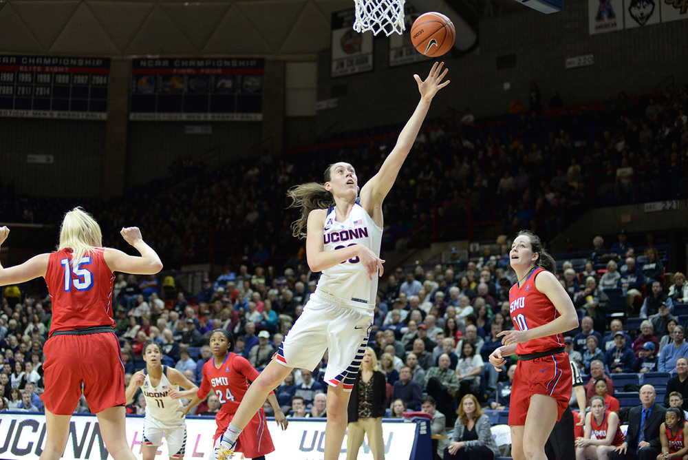 UConn women's basketball senior forward Breanna Stewart goes up for a layup during the Huskies' game against SMU at the XL Center in Hartford, Connecticut on Wednesday, Feb. 24, 2016. (Rebecca Newman/The Daily Campus)