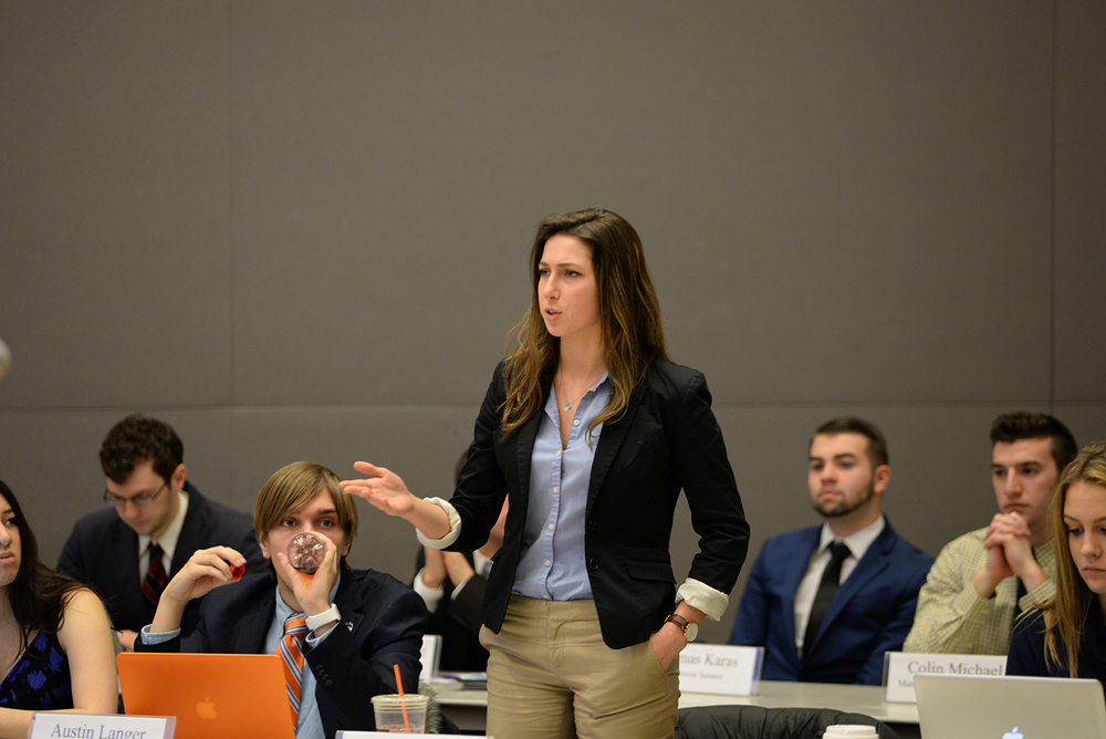 Undergraduate Student Government presidential candidate Stephanie Sponzo speaks during a USG senate meeting in the UConn Student Union on Wednesday, Feb. 17, 2016. A grievance against Sponzo has been filed for receiving an unfair endorsement by a speaker at a USG-funded event on Feb. 16. (Amar Batra/The Daily Campus)