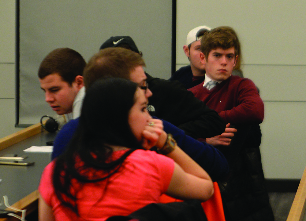 CLAS Sen. Tim Sullivan looks on during an Undergraduate Student Government during an abortion debate hosted by the UConn College Republicans on Tuesday, Feb. 16, 2016. Sullivan was impeached Thursday for allegedly attempting to buy the support of an Undergraduate Student Government justice. (Amar Batra/The Daily Campus)