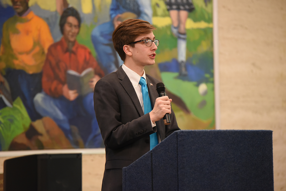 Undergraduate Student Government presidential candidate Daniel Byrd speaks during a USG election forum in the UConn Student Union in Storrs, Connecticut on Thursday, Feb. 26, 2016. (Allen Lang/The Daily Campus)