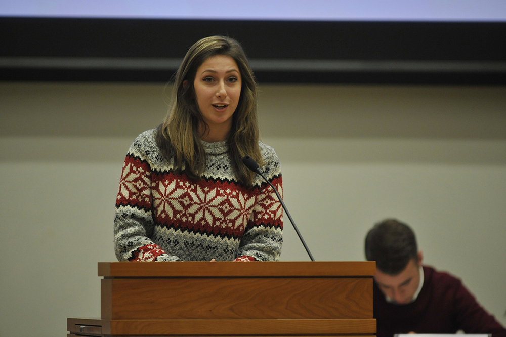 Undergraduate Student Government presidential candidate Stephanie Sponzo speaks during a USG senate meeting in the UConn Student Union in Storrs, Connecticut. (Allen Lang/The Daily Campus)