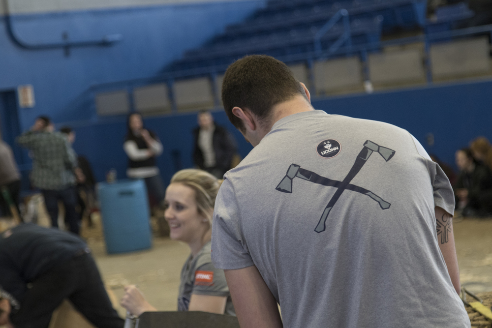 The back of a UConn Woodsmen team shirt. (Jackson Mitchell/The Daily Campus)