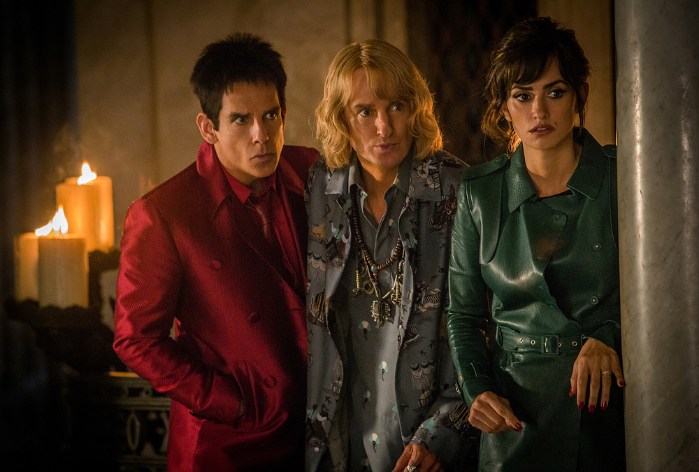 "In this image released by Paramount Pictures, Ben Stiller as Derek Zoolander, from left, Owen Wilson as Hansel and Penelope Cruz as Valentina Valencia in a scene from the film, ""Zoolander 2."" (Philippe Antonello/Paramount Pictures via AP)"