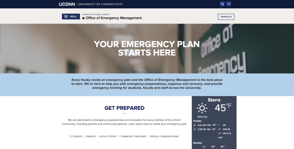 The home page of the UConn Office of Emergency Management's website. (Screen Grab)
