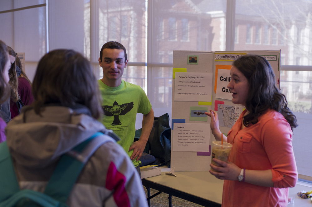 Members of UConn's Honors Council Environmental Committee speak with students during the 2nd Annual Ugliest Endangered Species Competition in the UConn Student Union in Storrs, Connecticut on Saturday, Feb. 27, 2016. (The Daily Campus)