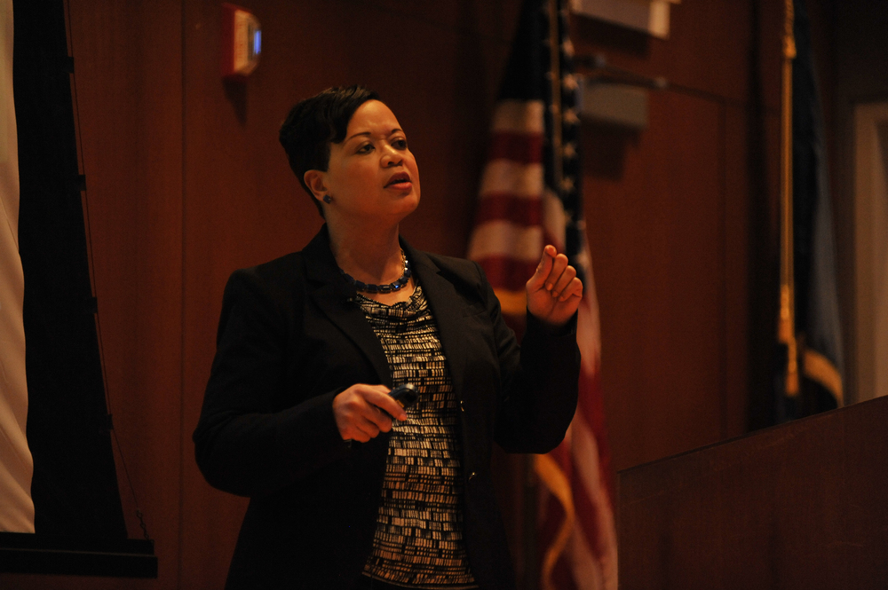 Joelle Murchison, currently vice president of enterprise diversity and inclusion at Travelers Insurance Company, speaks during her presentation in the Thomas J. Dodd Research Center's Konover Auditorium in Storrs, Connecticut on Monday, Feb. 29, 2016. (Jason Jiang/The Daily Campus)