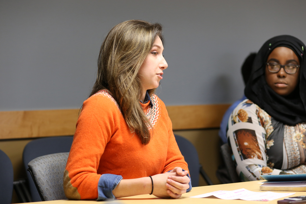 UConn Undergraduate Student Government presidential candidate Stephanie Sponzo and her running mate, Haddiyyah Ali, are seen during a judiciary hearing in the UConn Student Union in Storrs, Connecticut on Monday, Feb. 29, 2016. The USG judiciary gave the Sponzo/Ali presidential ticket two strikes for campaign violations, but they were not disqualified. (Jackson Haigis/The Daily Campus)