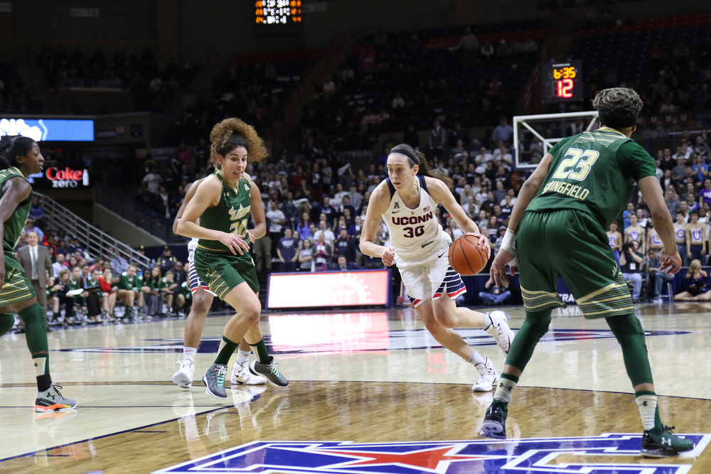 UConn women's basketball senior forward Breanna Stewart drives down the lane during the Huskies' game against No. 21 South Florida on Monday, Feb. 29, 2016. Stewart led all scorers with 27 points, with 20 of those coming in the second half. (Tyler Benton/The Daily Campus)