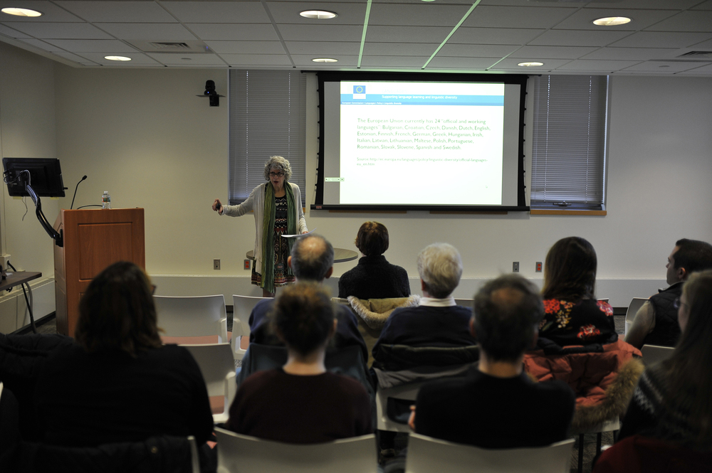 "University of Michigan professor Karla Mallette speaks during her lecture ""Lives of the Great Languages: Cosmopolitan Language Systems in the Medieval Mediterranean"" at the Phillip E. Austin Building on Monday, Feb. 29, 2016. (Jason Jiang/The Daily Campus)"