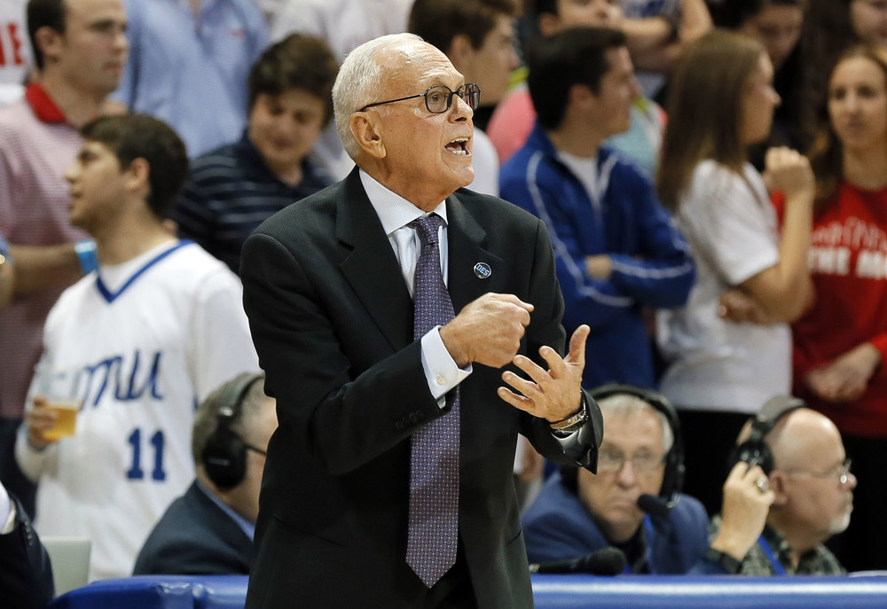 SMU head coach Larry Brown instructs his team in the first half of an NCAA college basketball game against Tulane, Sunday, Feb. 28, 2016, in Dallas. (AP Photo/Brad Loper)