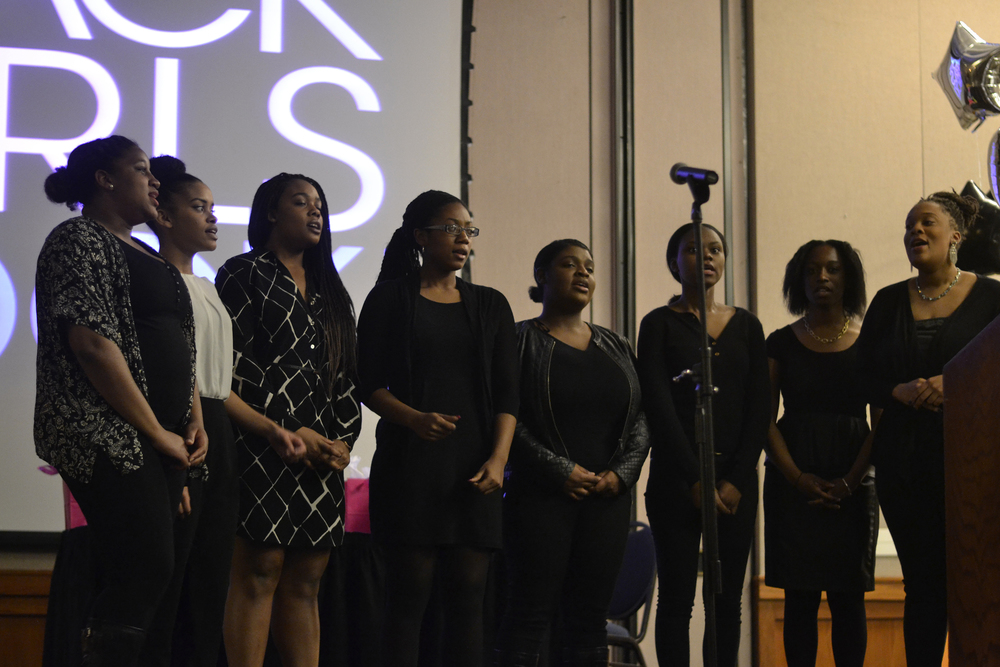 A cappella group Voices of Freedom perform during the Black Girls Rock program event in the Rome Ballroom on the UConn campus in Storrs, Connecticut on Thursday, March 3, 2016. (Rebecca Newman/The Daily Campus)