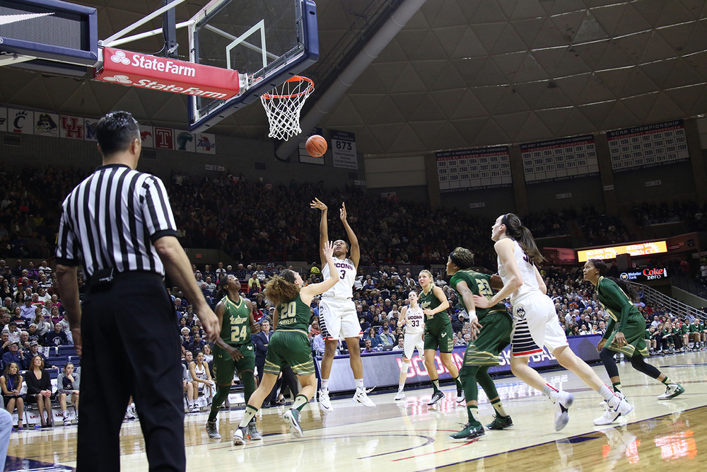 UConn women's basketball forward Morgan Tuck takes a shot during the Huskies' game against South Florida in Gampel Pavilion in Storrs, Connecticut on Monday, Feb. 29, 2016. (Tyler Benton/The Daily Campus)