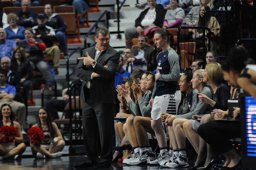 UConn head coach Geno Auriemma offers direction to his team during their 82-35 victory over Tulane in the semifinals of the American Athletic Conference tournament. The Huskies are looking to win their 21st conference tournament. (Bailey Wright/The Daily Campus)