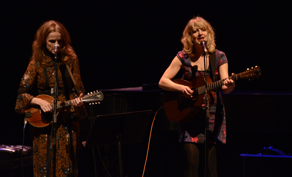 "Folk singers Patty Griffin (left) and Anaïs Mitchell perform a show on their national ""Use Your Voice 2016"" tour in the Jorgensen Center for the Performing Arts in Storrs, Connecticut on Saturday, March 5, 2016. (/The Daily Campus)"