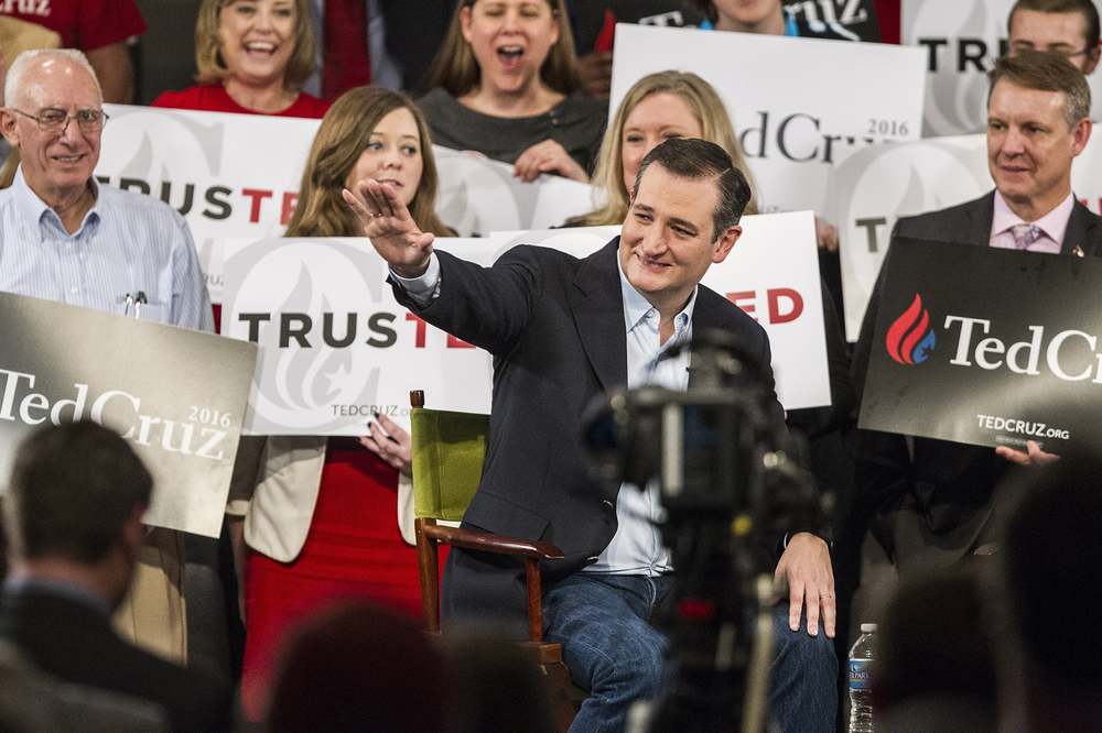 Republican presidential candidate Sen.  Ted   Cruz , R-Texas waves to the crowd during a campaign rally Tuesday, March 8, 2016 at Calvary Baptist Church in Raleigh, NC. (Travis Long/The News & Observer via AP) MANDATORY CREDIT