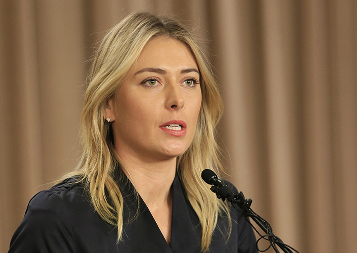 Tennis star Maria Sharapova speaks during a news conference in Los Angeles on Monday, March 7, 2016.Sharapova says she has failed a drug test at the Australian Open. (AP Photo/Damian Dovarganes)