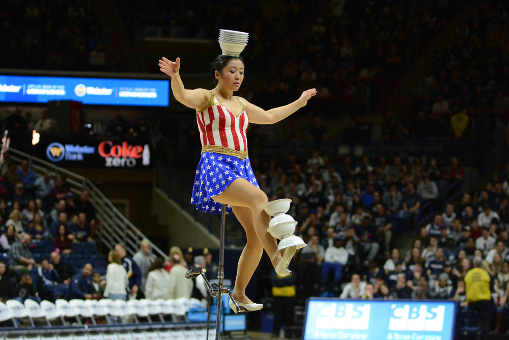 Red Panda, a balancing act, performed her bowl flipping routine at Gampel Pavilion on Sunday March 6, 2016. (Matthew Zabierek/The Daily Campus)