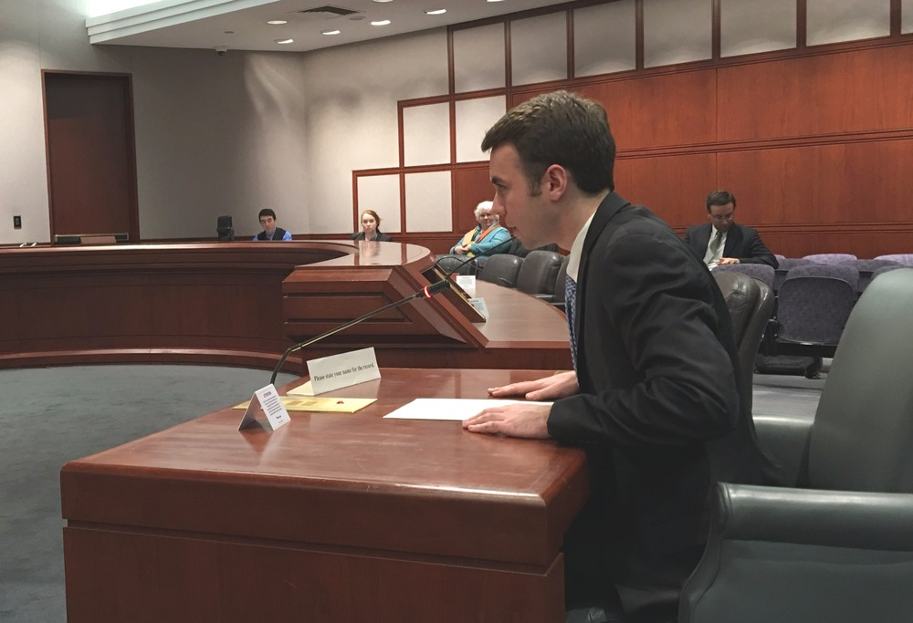 Undergraduate trustee-elect Adam Kuegler speaks at a higher education committee public hearing in Hartford on Tuesday, March 8, 2016. (Kyle Constable/Daily Campus)