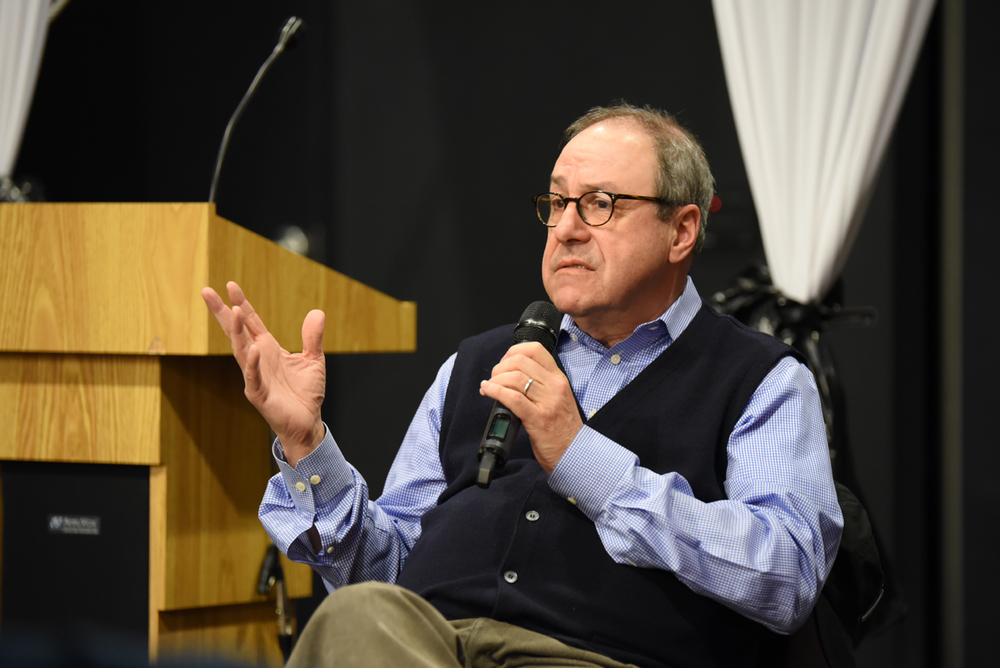 "Joe Nocera, an Op-Ed columnist, writes about a myriad of issues, notably the NCAA, for The New York Times. He discussed the issues with the organization that he has unearthed from his book, ""Indentured: The Inside Story of the Rebellion Against the NCAA."" (Zhelun Lang/Daily Campus)"