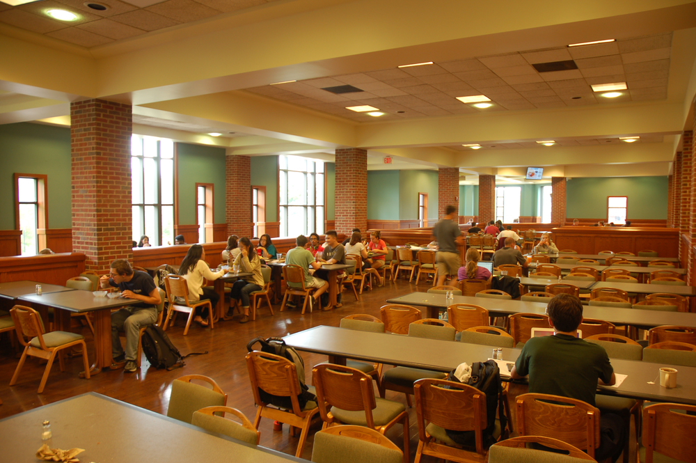 Spring break meal plans are free to students with meal plans who stay on campus but only Northwest Dining Hall, pictured above, will be operating, and only at certain times of the day. Students must sign up for meals (breakfast, lunch, dinner) for every day they will need them, and can only swipe in once for each meal time they sign up for. (Carly Zaleski/Daily Campus)