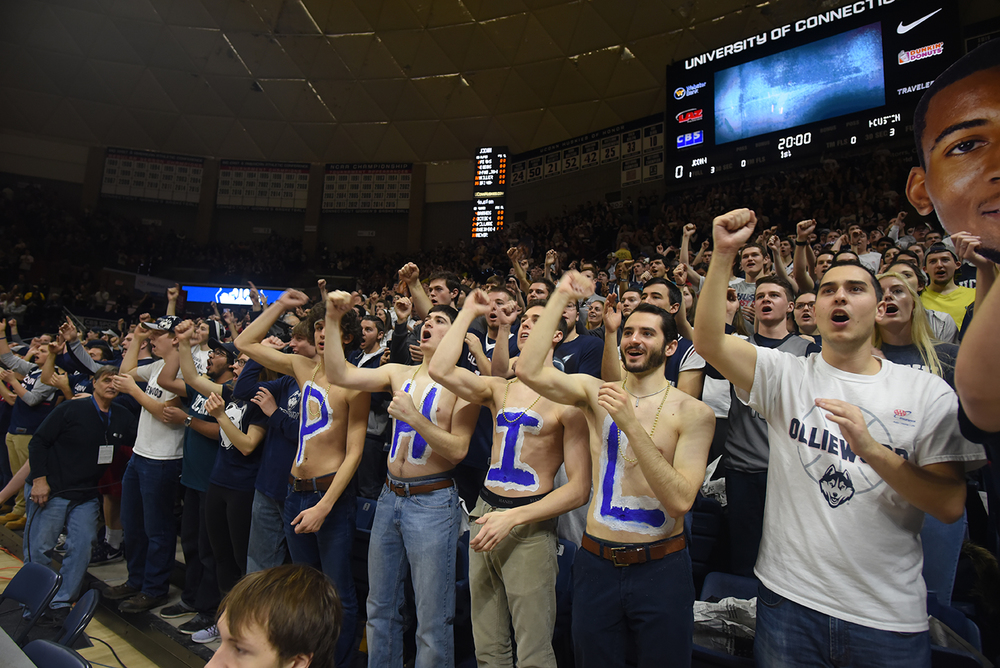 "The student section cheers on UConn on March 6, 2016 at Gampel Pavilion. ""Olliewood"" is the endearing term to described the UConn faithful. (Zhelun Lang/The Daily Campus)"
