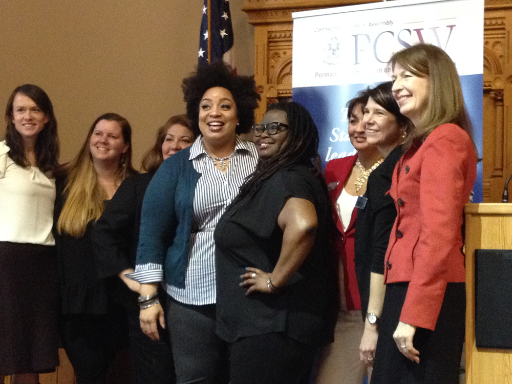 "Monica Raye Simpson, executive director of SisterSong, and Reia Chapman, its North Carolina Organizer, gave the keynote speech, ""Intersectional Feminism 101,"" at Women's Day in the Capitol on March 9, 2016. (Kimberly Armstrong/The Daily Campus)"