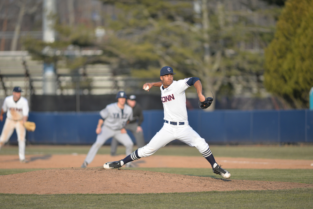 UConn baseball pitcher Devin Over delivers a pitch during the Huskies' game against Yale at J.O. Christian Field in Storrs, Connecticut on Tuesday, March 8, 2016. (Amar Batra/The Daily Campus)