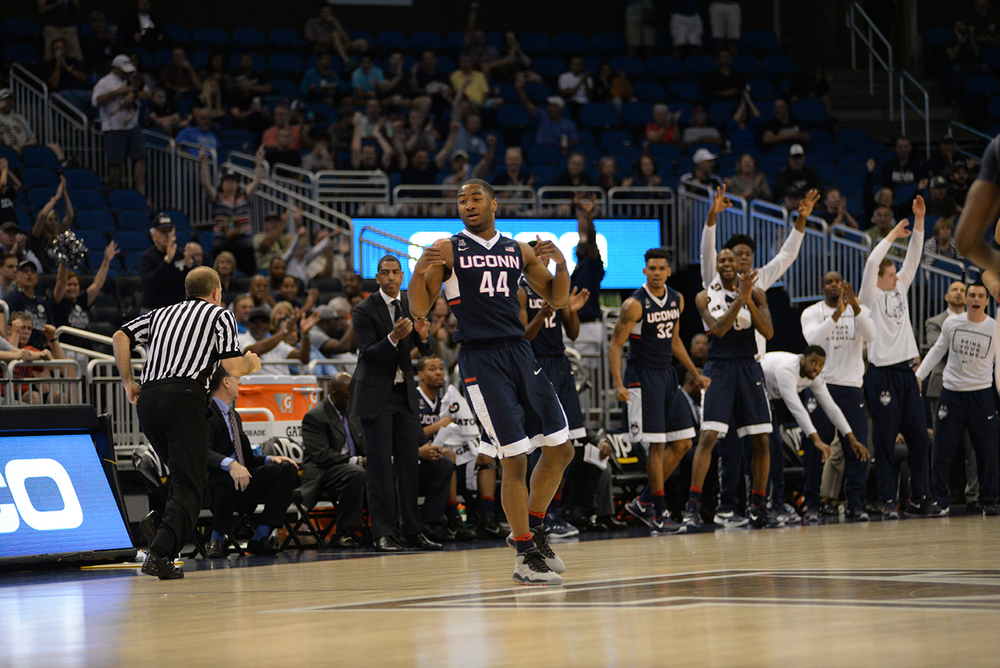 Rodney Purvis celebrates during UConn's 77-62 victory over Temple in the semifinals of the American Athletic Conference Championship at the Amway Center on Saturday March 12, 2016. Purvis finished with 8 points. (Ashley Maher/The Daily Campus)